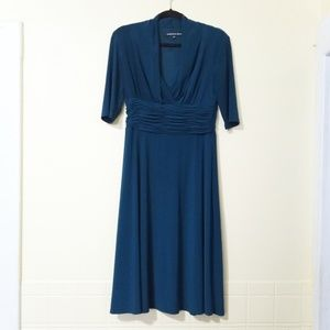Jones Wear Dress Teal Blue Cowl V-Neck Size: 8